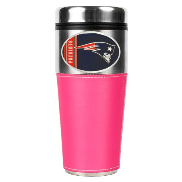 Patriots 16oz Pink Leather Travel Mug