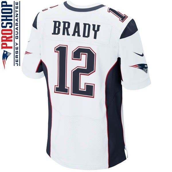 Nike Elite Tom Brady #12 Jersey-White