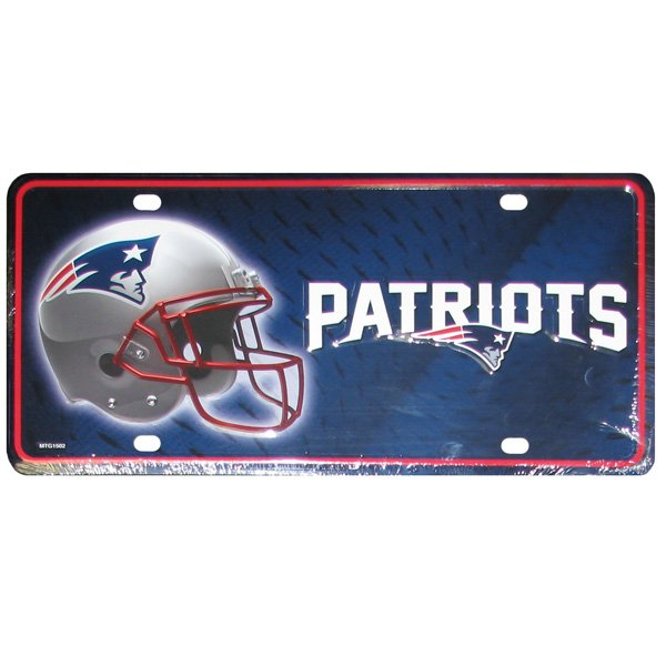Patriots Wordmark Metal License Plate