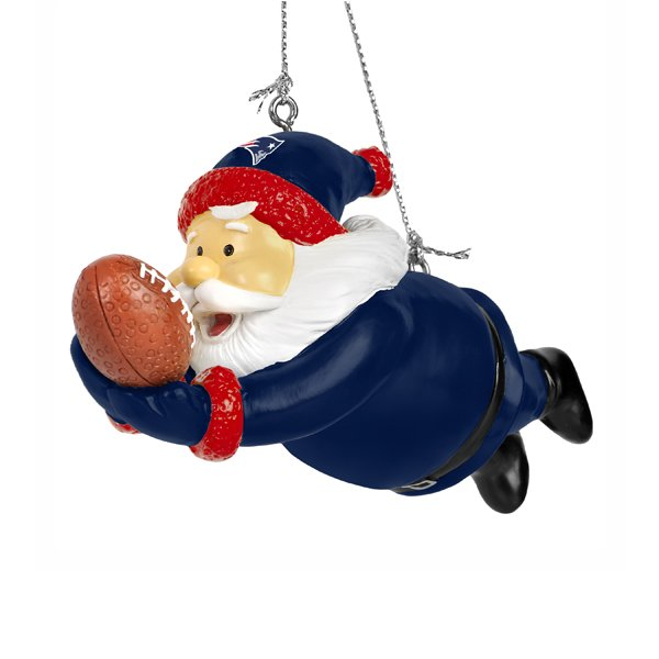 Patriots Resin Diving Santa Ornament