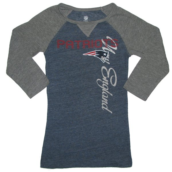 Girls 3/4 Length Tee-Navy/Gray