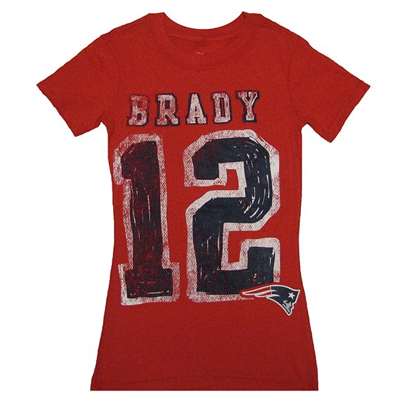 Girls Brady Name & Number Tee-Red