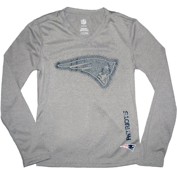 Girls Patriots Dri Tek Long Sleeve Tee-Gray