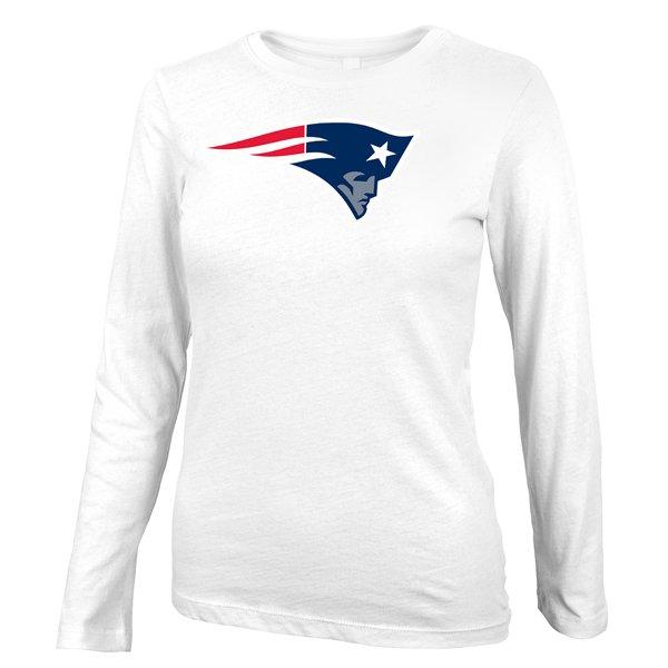 Girls Patriots Logo Long Sleeve Tee-White