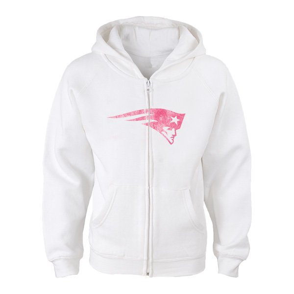 Girls Logo Tried Full Zip Hood-White/Pink