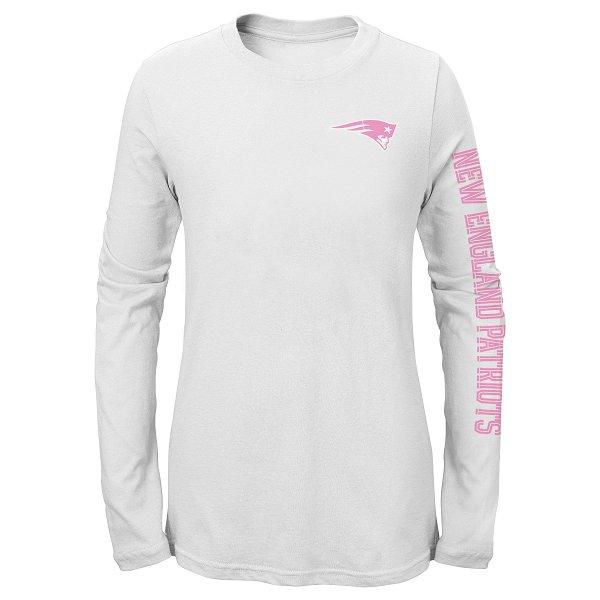 Girls Logo Long Sleeve Tee-White/Pink