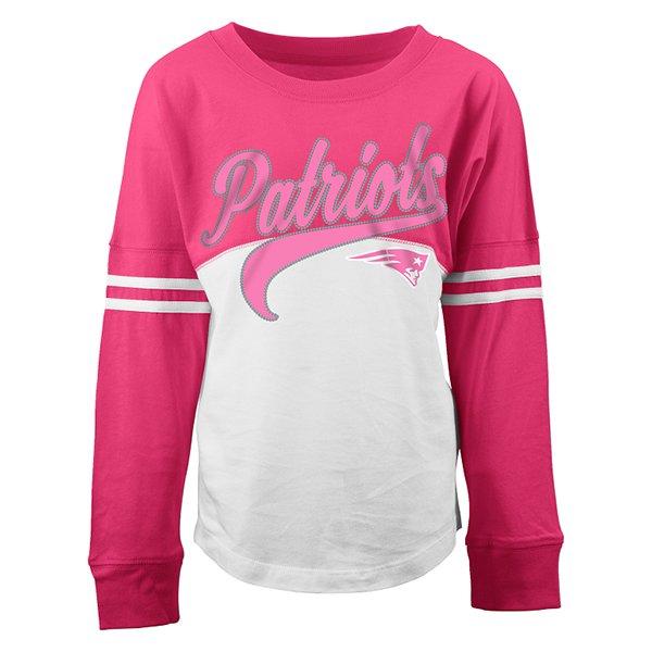 Girls Yoke Long Sleeve Top-White/Pink