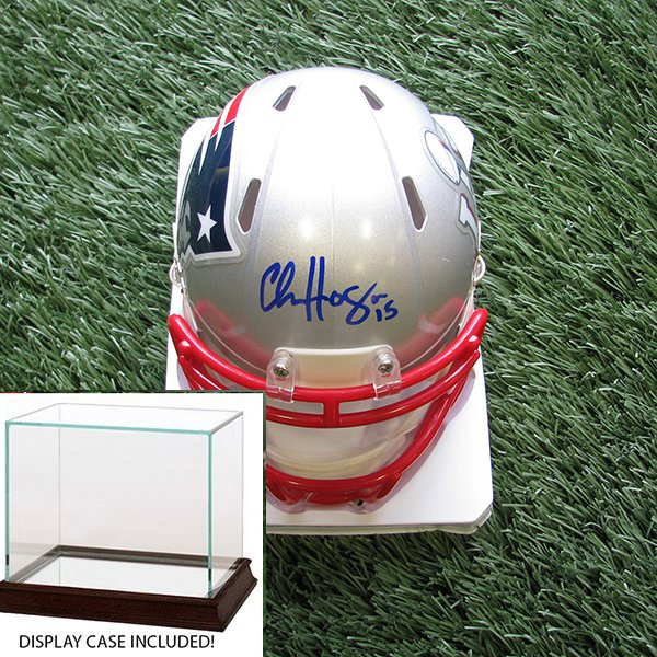 Autographed Chris Hogan SB LI Mini Helmet w/Case