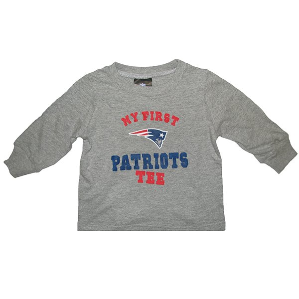 Infant My First Patriots Long Sleeve Tee-Gray