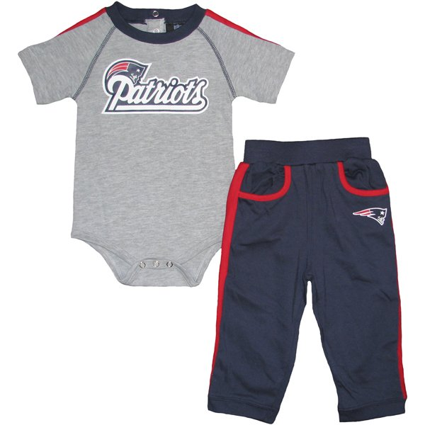 Infant Creeper & Pant Set-Gray/Navy