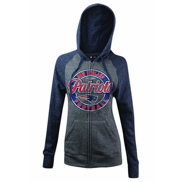 Junior Ladies Circle Full Zip Hood-Gray/Navy