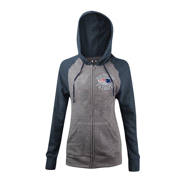 Junior Ladies Football Full Zip Hood-Gray/Navy