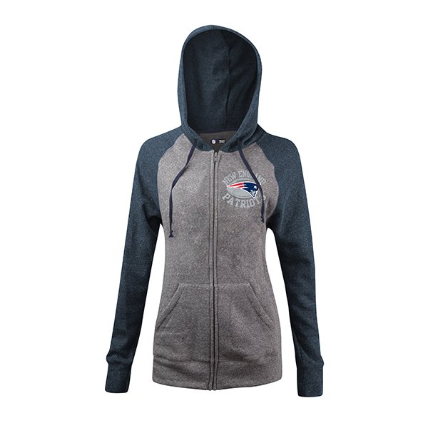 Junior Ladies Football Full Zip Hood-Gray/Navy