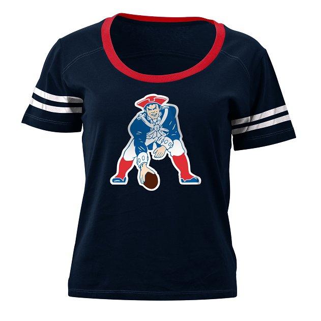 Junior Ladies Sleeve Stripe Throwback Tee-Navy