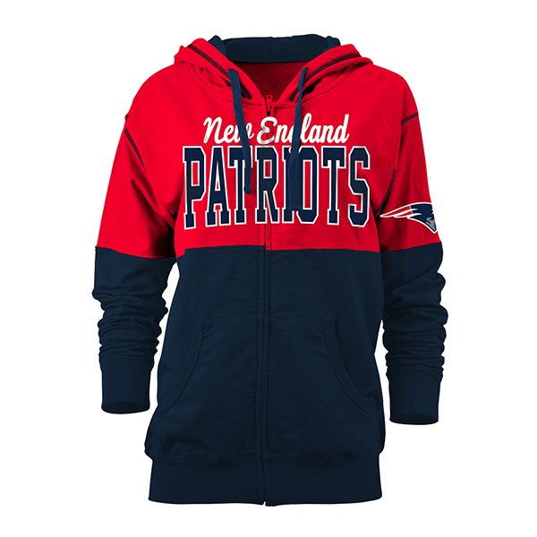 Junior Ladies Light Weight Full Zip Hood-Red/Navy