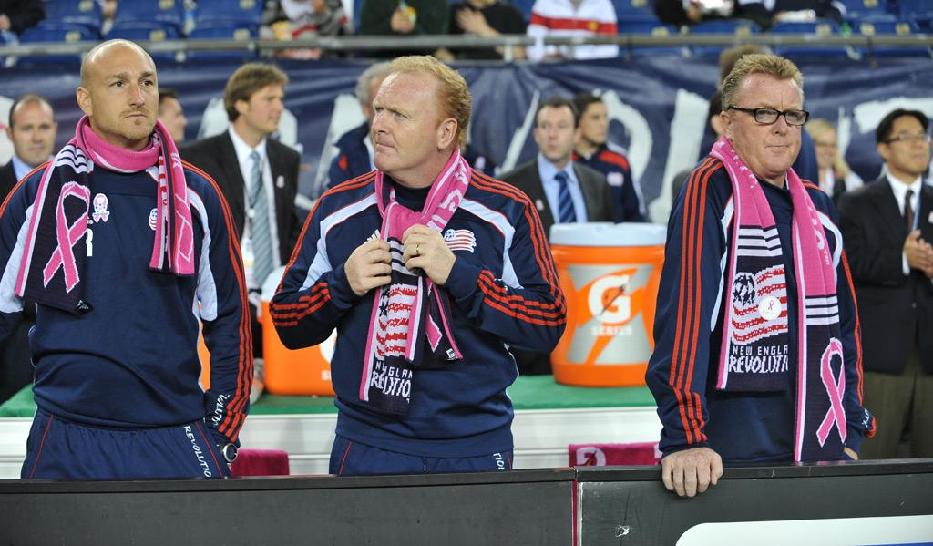 Revolution coaching staff with pink scarves
