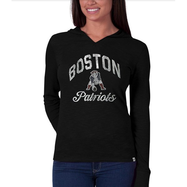 Ladies '47 Brand Boston Prime Time Hooded Tee-Black