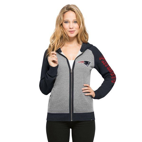 Ladies '47 Brand Coed Full Zip Hood-Gray/Navy
