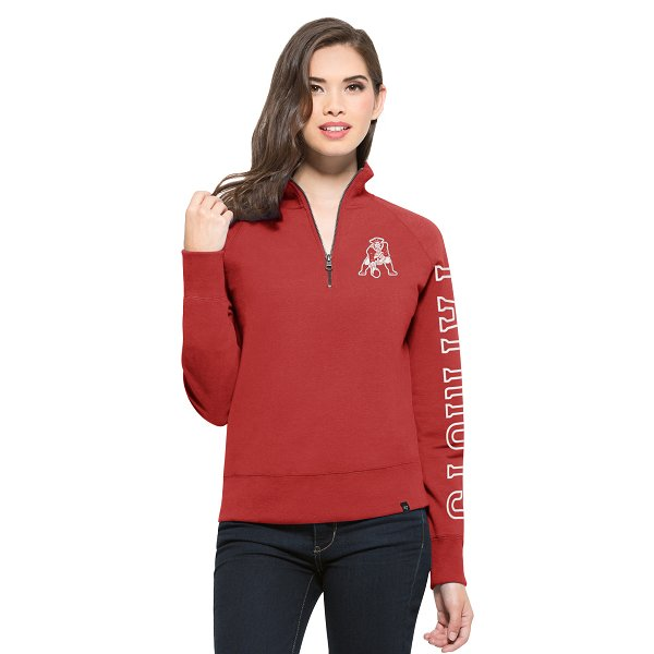 Ladies '47 Brand Shimmer Throwback 1/4 Zip Top-Red