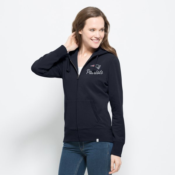 Ladies '47 Brand Cross Check Full Zip Hood-Navy