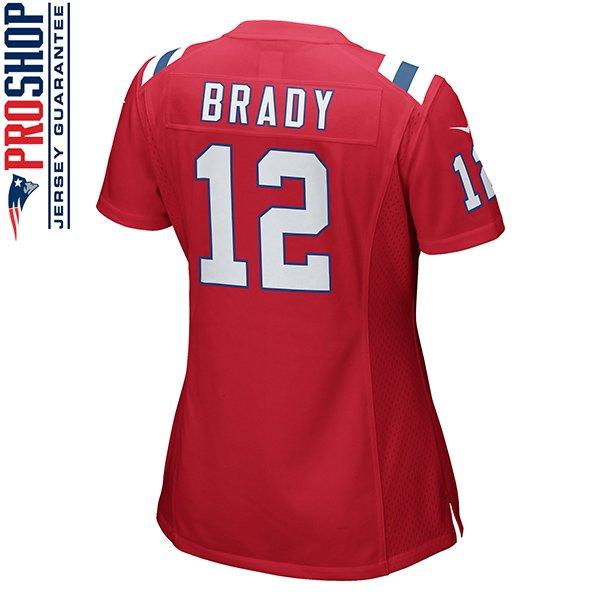 Ladies Nike Tom Brady Throwback Game Jersey-Red