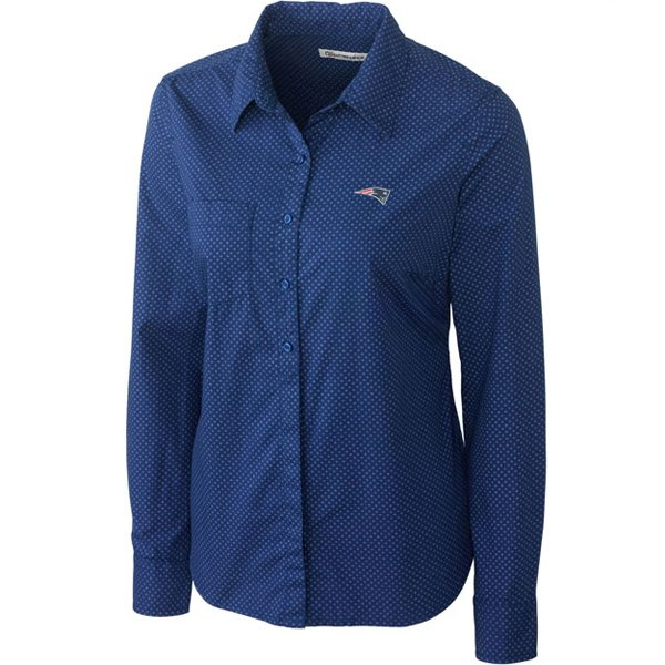 Ladies CB Drop Shot Button Shirt-Blue
