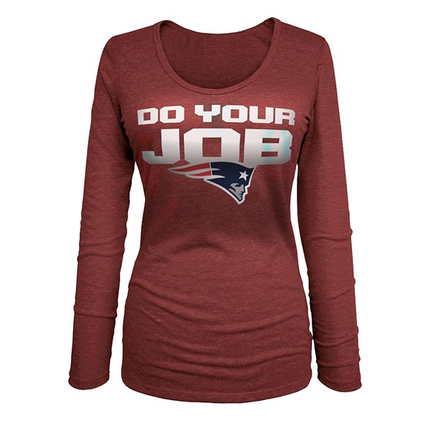 Ladies Do Your Job Long Sleeve Tee-Red