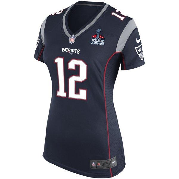 Ladies Nike Tom Brady Game Jersey w/SB Patch-Navy