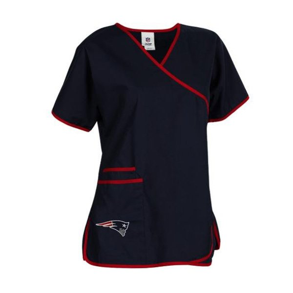Ladies Patriots Scrubs Wrap Top-Navy