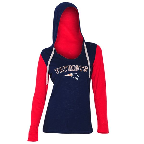Ladies Flashback Long Sleeve Hood Top-Navy/Red