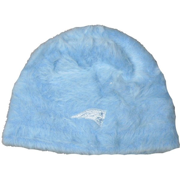 Ladies Furry Beanie Knit-Blue