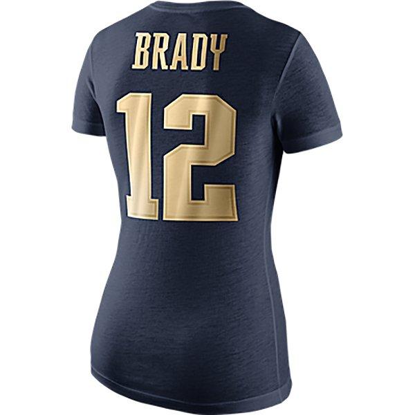 Ladies Nike Gold Championship Drive Brady Name &Number Tee-Navy
