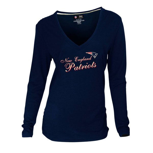 Ladies Luxe Long Sleeve V-Neck Top-Navy