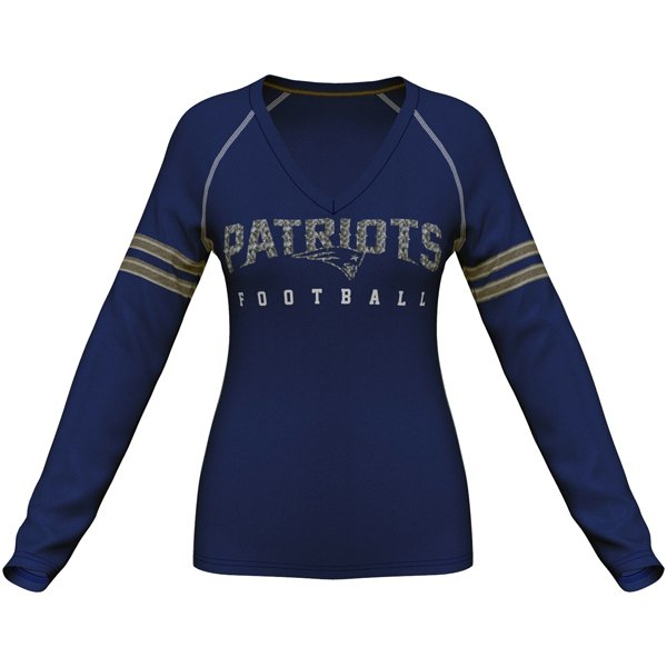 Ladies Majestic Deep Fade Long Sleeve Top-Navy