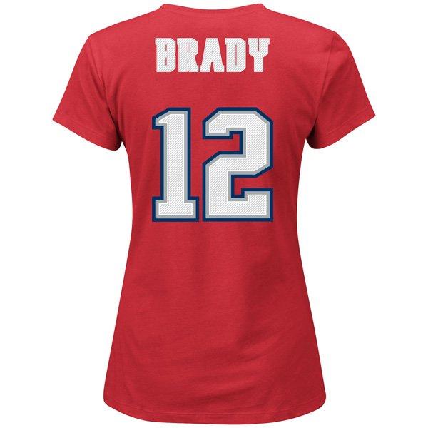 Ladies Majestic Throwback Tom Brady Name and Number TeeRed