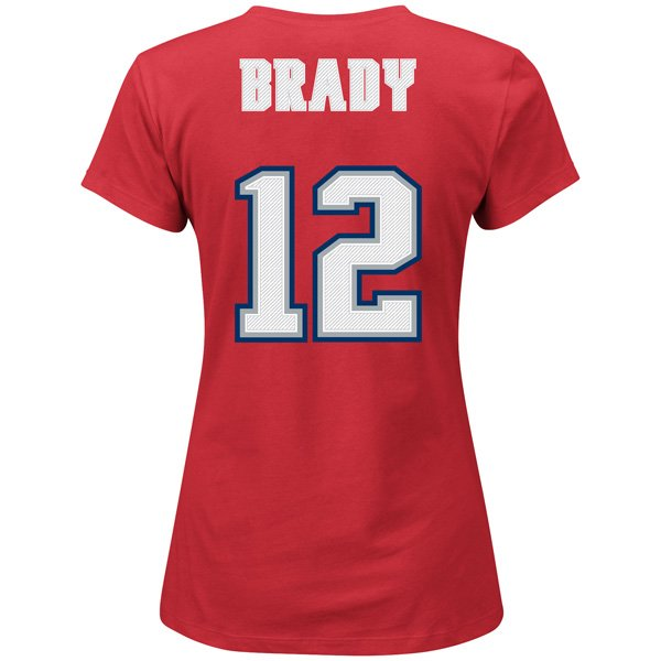 Ladies Majestic Throwback Tom Brady Name and Number Tee-Red