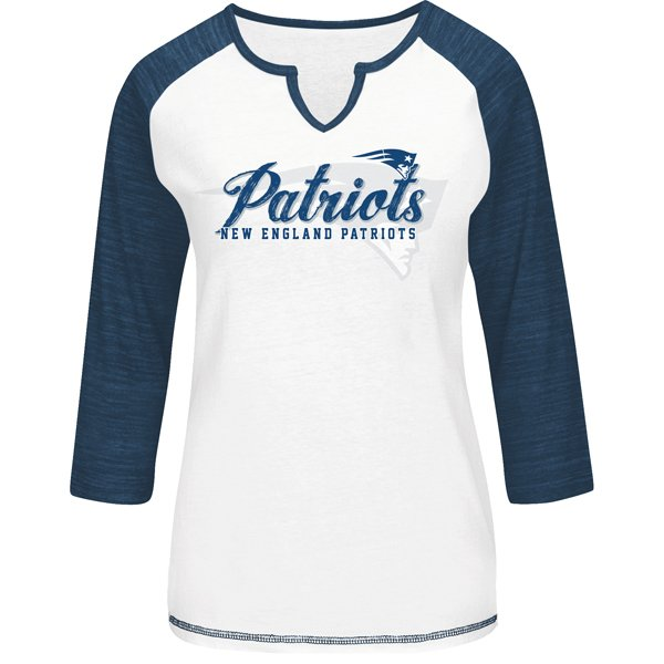 Ladies Majestic Victory Long Sleeve Top-White/Navy