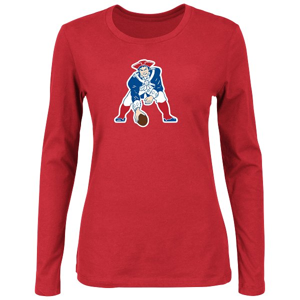 Ladies Majestic Throwback Long Sleeve Tee-Red
