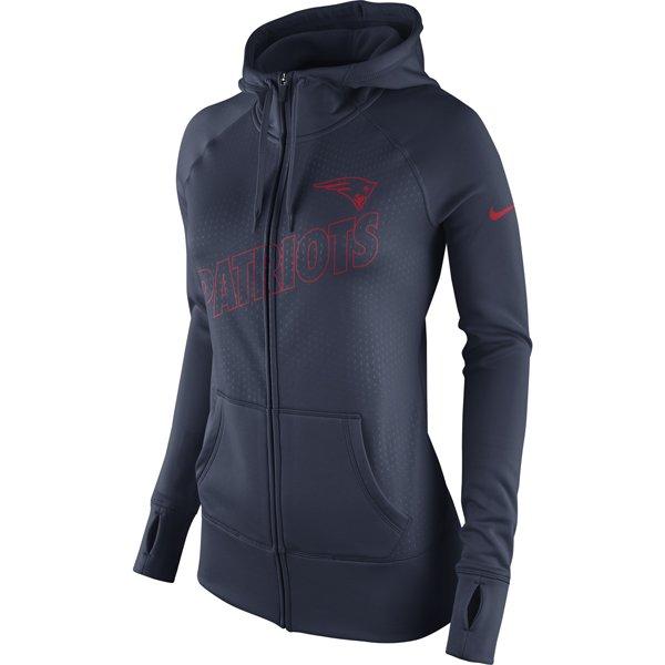 Ladies Nike Full Zip Game Day Hood-Navy
