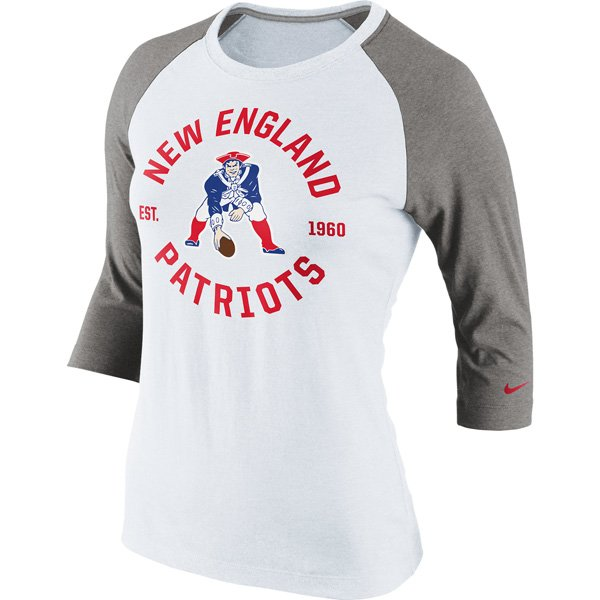 Ladies Nike Throwback Stamp It Raglan-Gray/White