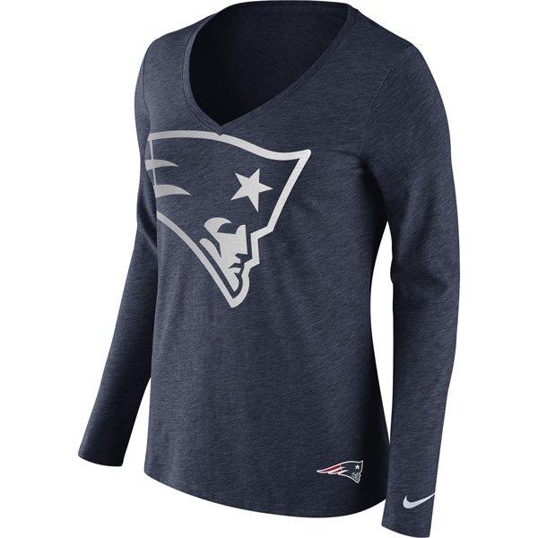 Ladies Nike Tri Logo Long Sleeve Tee-Navy
