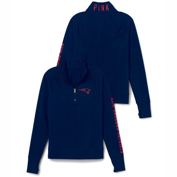 Ladies PINK 1/2 Zip Jacket-Navy