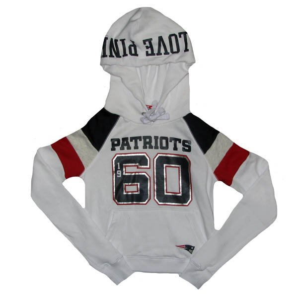 Ladies PINK Pullover Hood-White