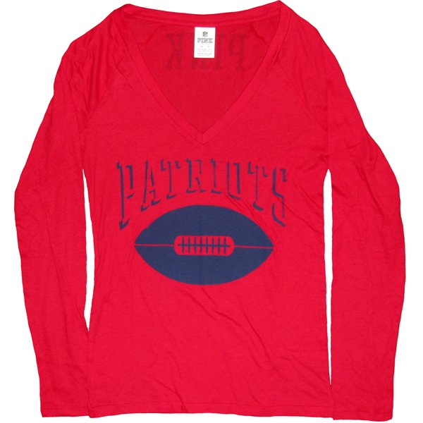 Ladies PINK V-Neck Long Sleeve Tee-Red