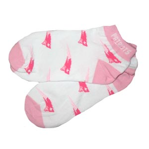 Ladies Pats Footie Socks-Pink