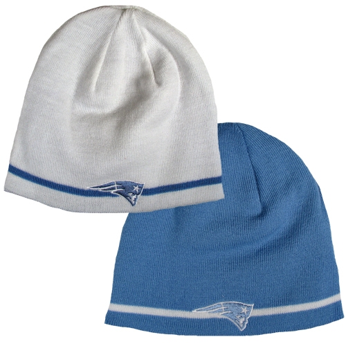 Ladies Reversible Knit Hat White/Blue