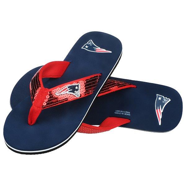 Ladies Sequin Flip Flop-Navy/Red