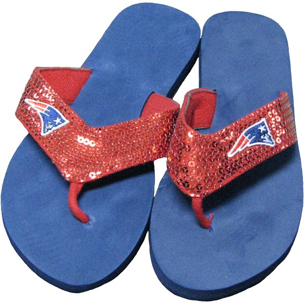 Ladies Sequin Flip Flop-Navy/Red