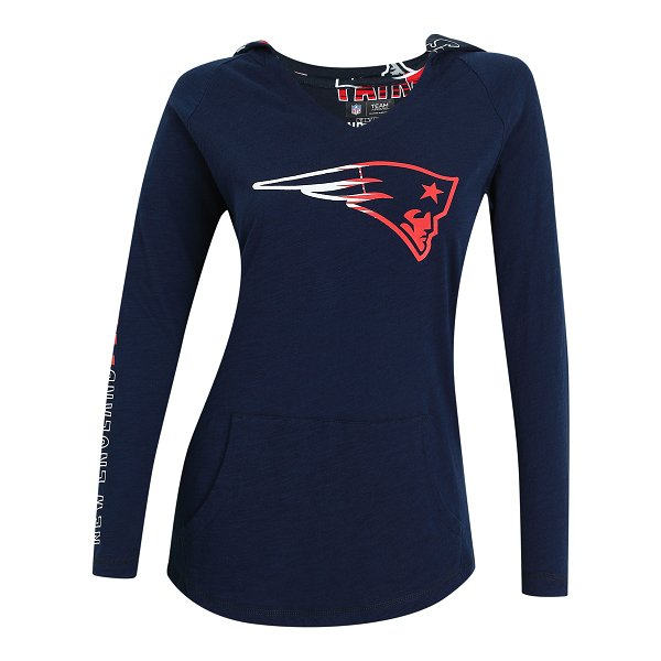 Ladies Sweep Long Sleeve Hooded Top-Navy