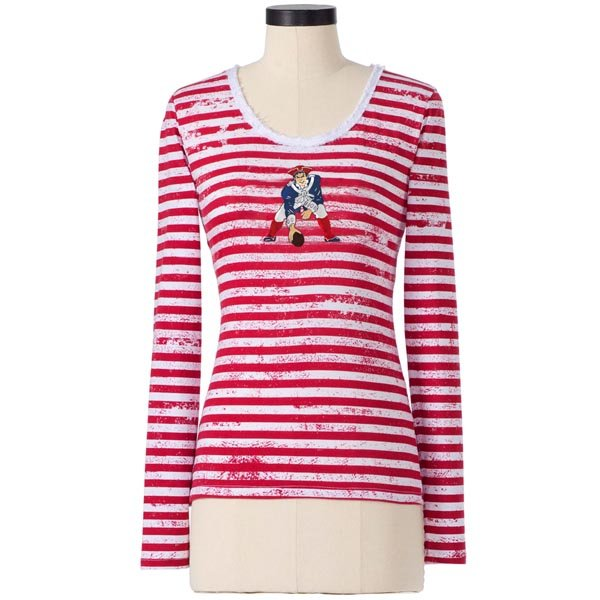 Ladies Throwback Long Sleeve Stripe Scoop Neck-Red